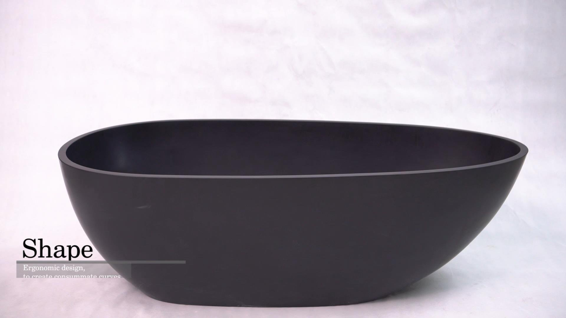 Egg oval shaped black color freestanding solid surface stone cast acrylic resin bathroom bathtub BS-8608B product presentation