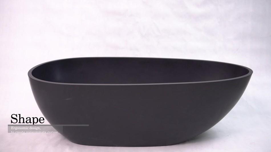 Egg oval shaped black color freestanding solid surface stone cast acrylic resin bathroom bathtub BS-8608B product presentation