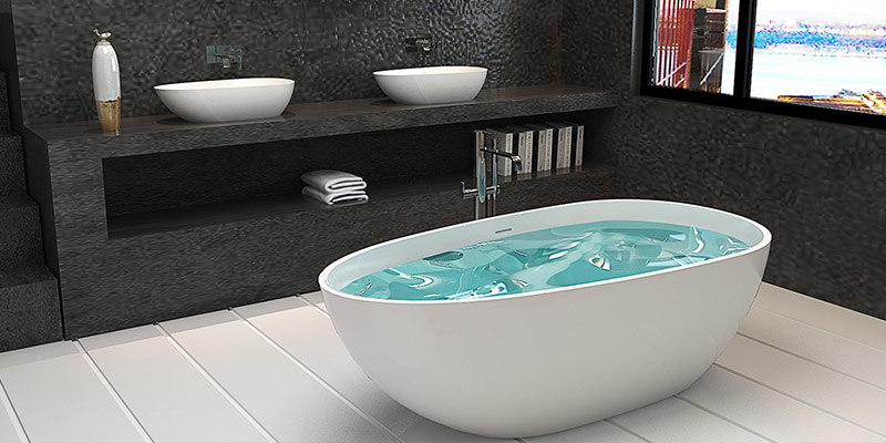 Bellissimo-Oval Design Color Optional Luxury Solid Surface Bathtub Bs-8608