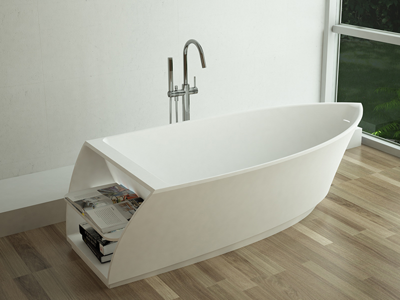 Boat shape design White color solid surface bathtub BS-8600