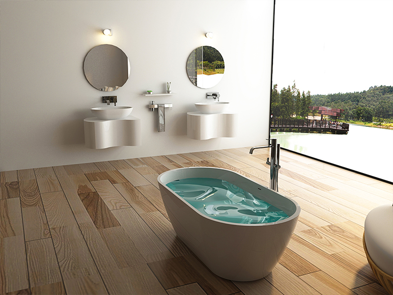 Oval Freestanding Solid surface resin bathroom bathtub BS-8612