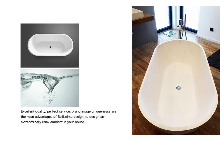 Bellissimo-Oval Freestanding Solid surface resin bathroom bathtub BS-8612-2