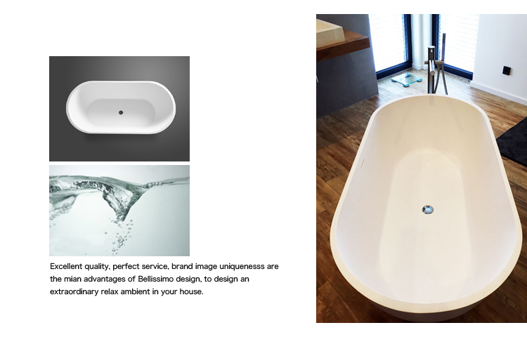 Wholesale white solid surface bathtub Bellissimo Brand