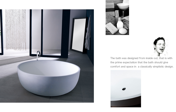 Bellissimo-Big Round 1500mm Resin Solid Surface Bathtub Bs-8615 - Bellissimo-2