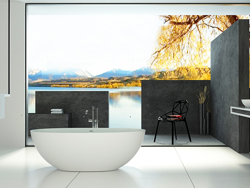 Bellissimo-Find Artificial Oval Shape Red Color Resin Solid Surface Bathtub
