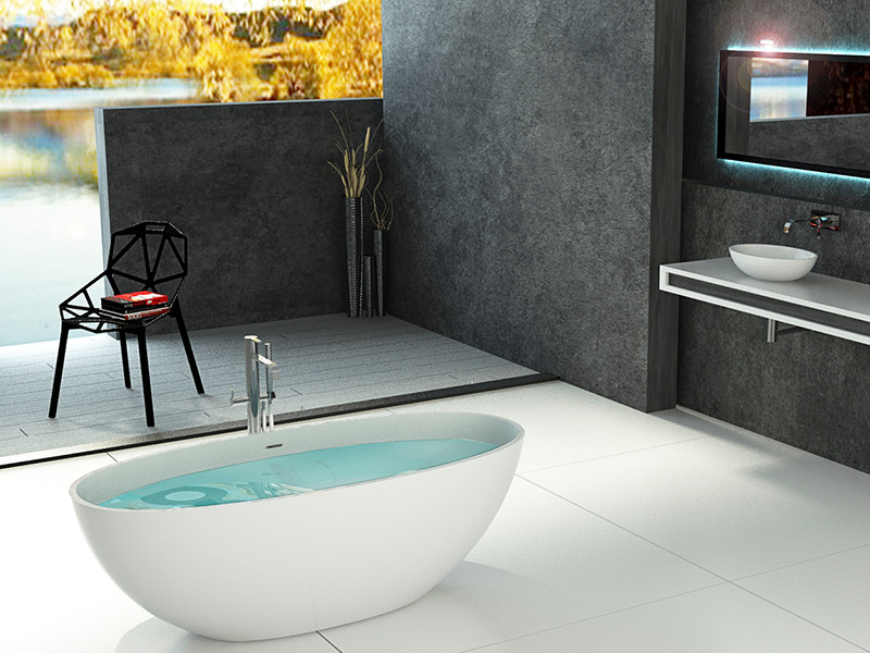 Bellissimo-Find Artificial Oval Shape Red Color Resin Solid Surface Bathtub-1