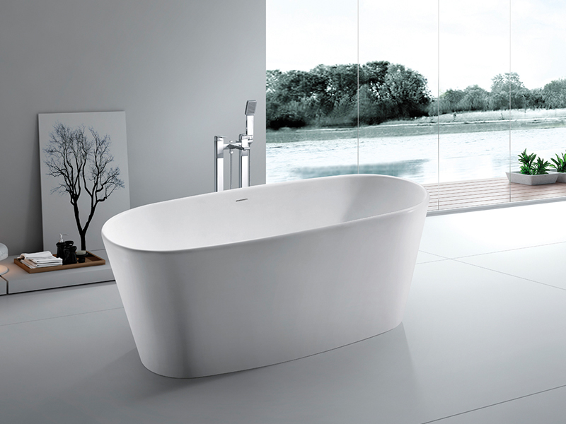 Small deep freestanding bathroom solid surface bathtub BS-8602