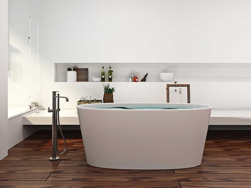 Small deep freestanding bathroom solid surface bathtub BS-8602