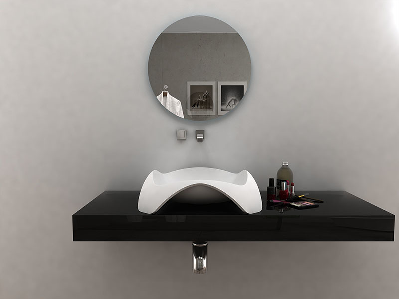 Unique shape bathroom wash hand basin solid surface bathroom sink BS-8344