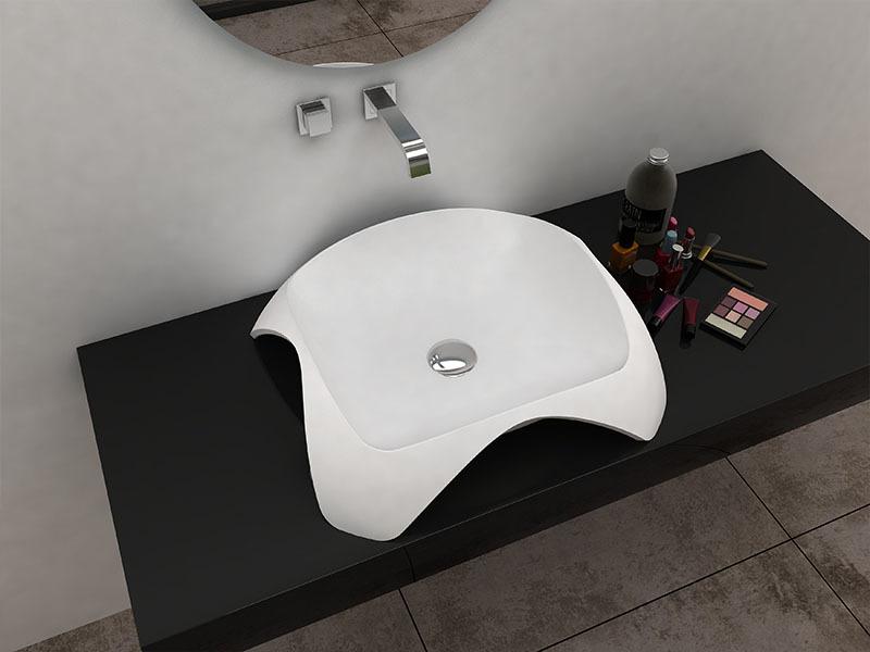 Unique shape bathroom wash hand basin solid surface bathroom sink BS-8344