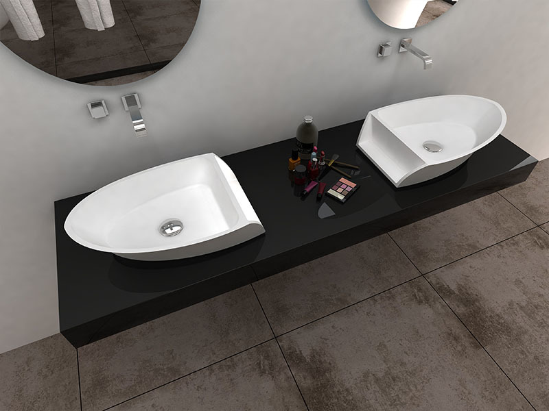 Boat shape design resin solid surface wash basin bathroom sink BS-8345