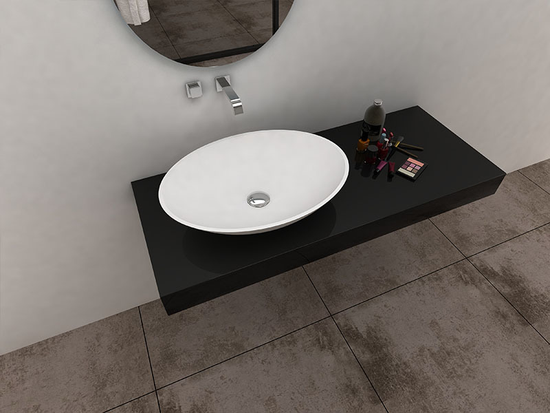 Art Colorful oval shape bathroom sink solid surface wash hand basin BS -8346