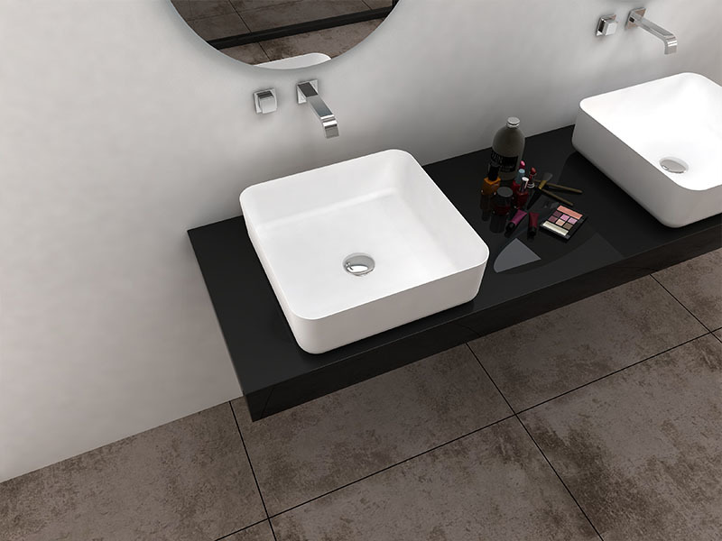 Sligh edge square corner wash basin bathroom solid surface sink BS-8348