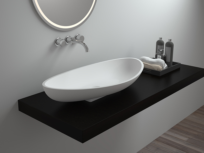 Modern style countertop wash basin bathroom resin stone sink BS-8322