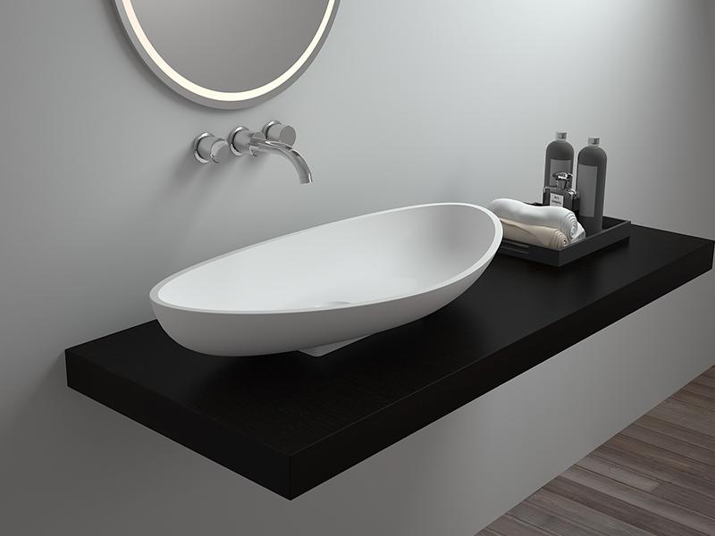 Modern style countertop wash basin bathroom resin stone sink BS-8322