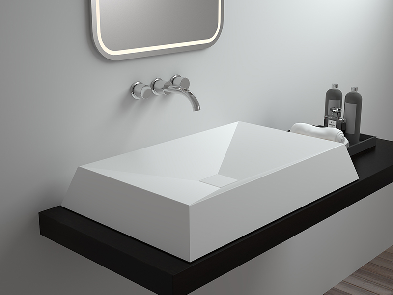 Rectangle Unique design stone resin solid surface bathroom sink BS-8308