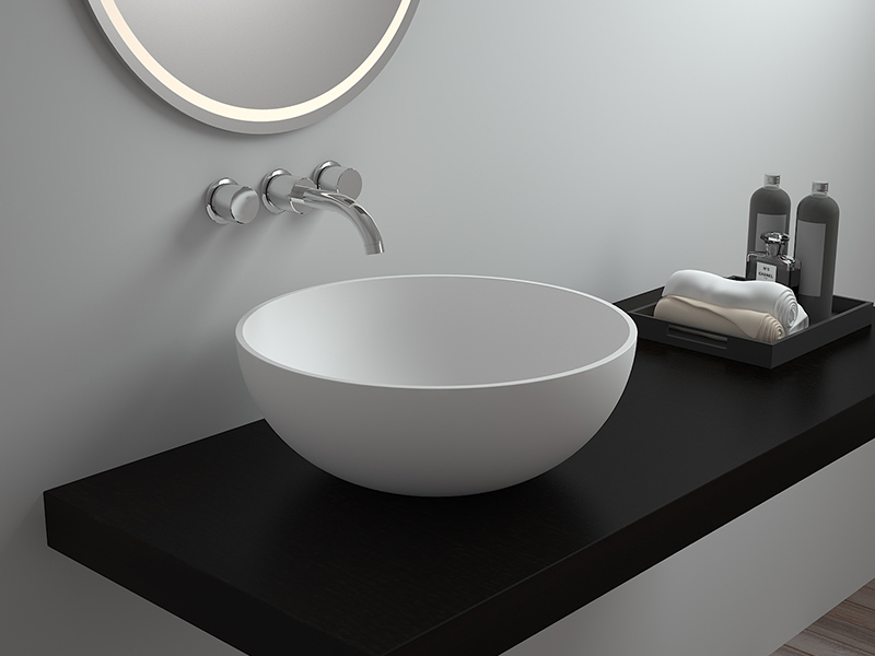 White round bathroom countertop wash basin solid surface sink BS-8301T