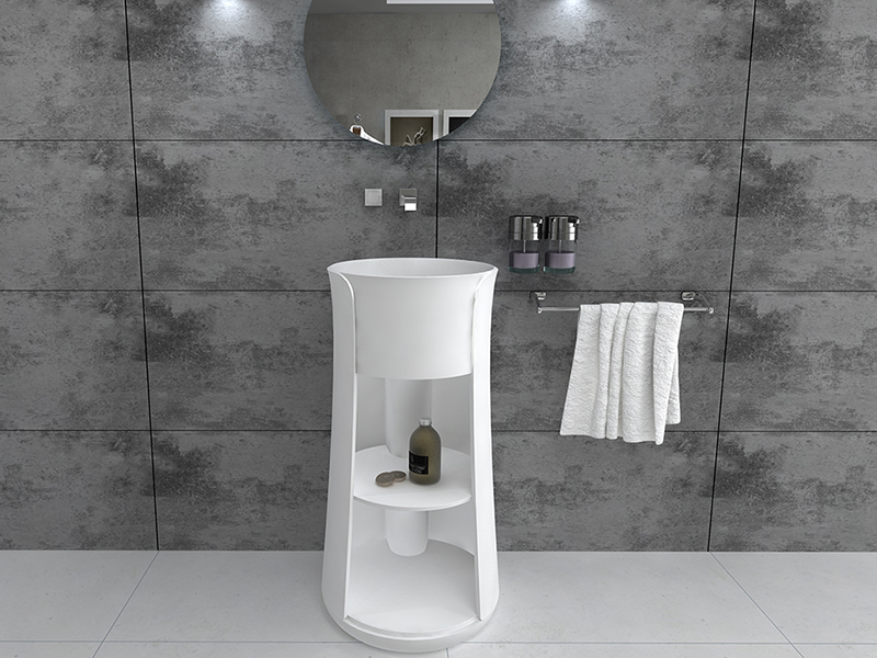 Pedestal stone solid surface bathroom freestanding double sink BS-8512