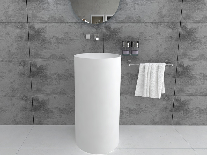 Modern round design freestanding sink bathroom pedestal wash basin BS8514