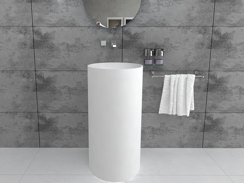 Modern round design freestanding sink bathroom pedestal wash basin BS8514