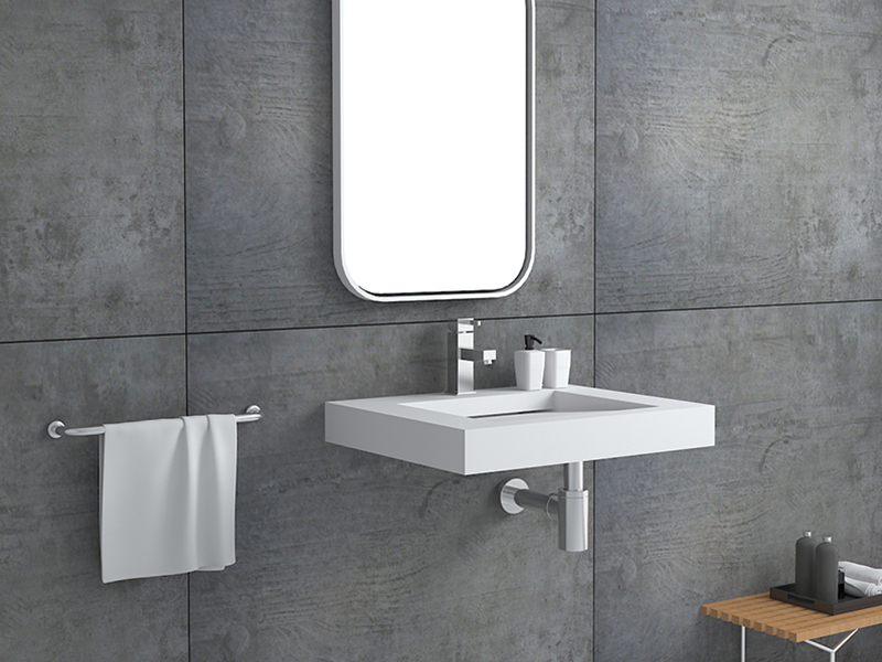 Artificial wall mounted stone resin bathroom sink BS-8409