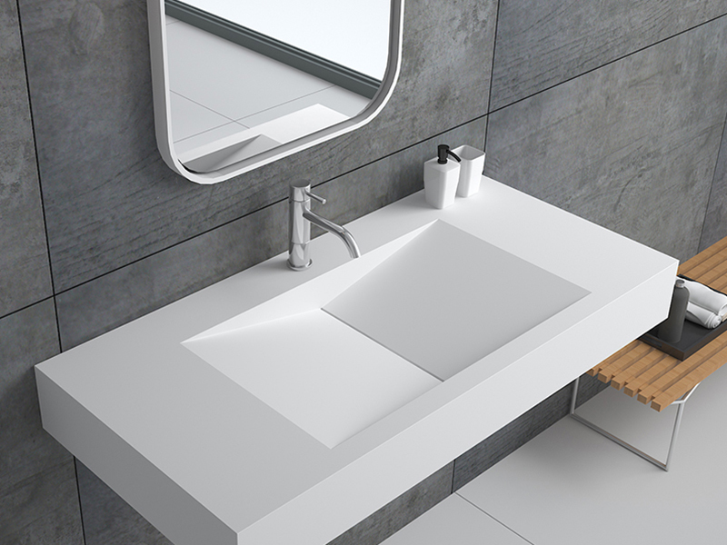Modern design stone resin wall mounted basin bathroom sink BS -8408