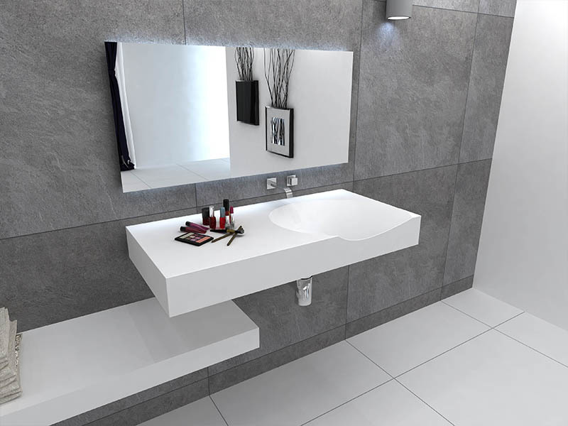 Solid surface bathroom wall mounted wash basin BS -8424