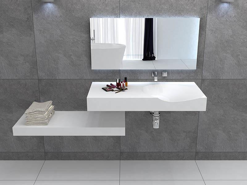 Solid surface bathroom wall mounted wash basin BS -8424
