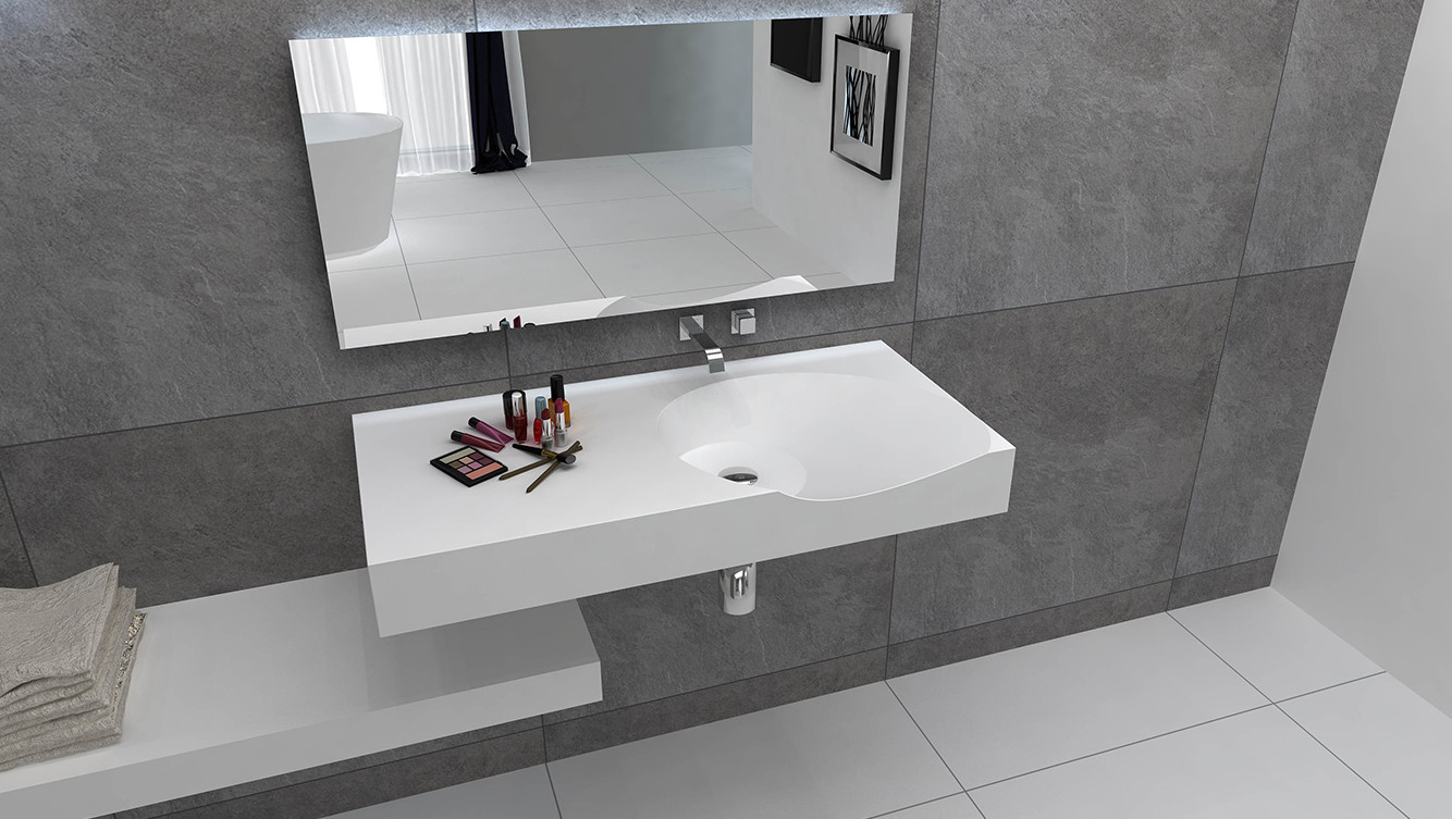 Bellissimo-Best Solid Surface Bathroom Wall Mounted Wash Basin BS -8424