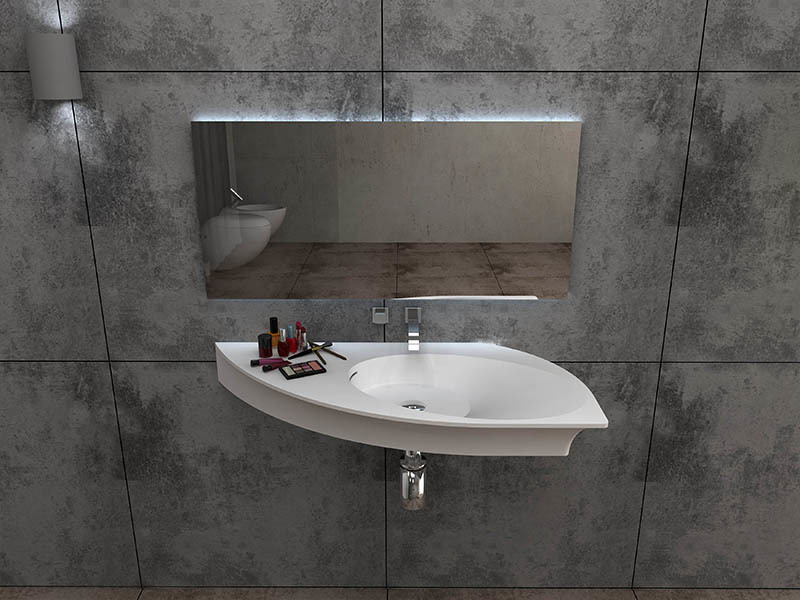 Yacht shape wall mounted basin bathroom solid surface sink BS-8425
