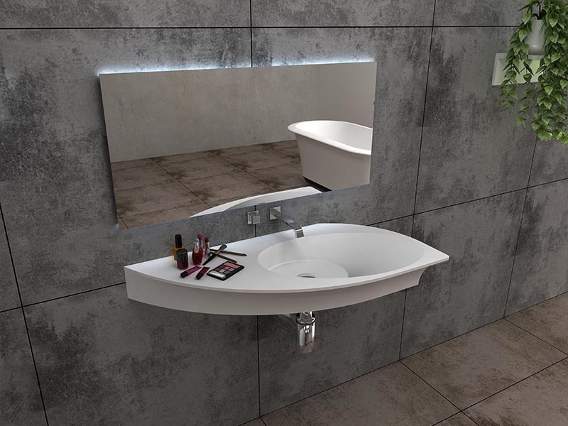 Yacht shape wall mounted basin bathroom solid surface sink BS-8425