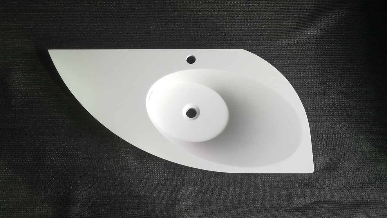 Bellissimo-Yacht Shape Wall Mounted Basin Bathroom Solid Surface Sink