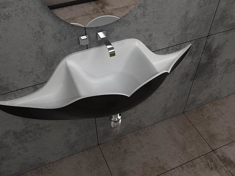 Black beard shape design wall mounted bathroom sink solid surface basin BS-8346