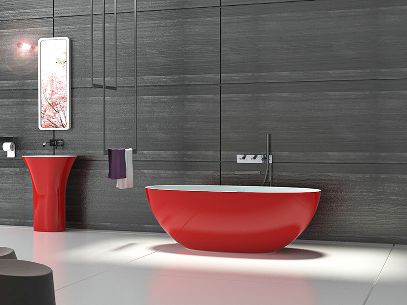 artificial oval shape red color resin solid surface bathtub BS-8628