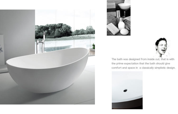 Bellissimo-Best Customsolid Surface Bathroom Free Standing Bathtub Bs-8633a Manufacture-2