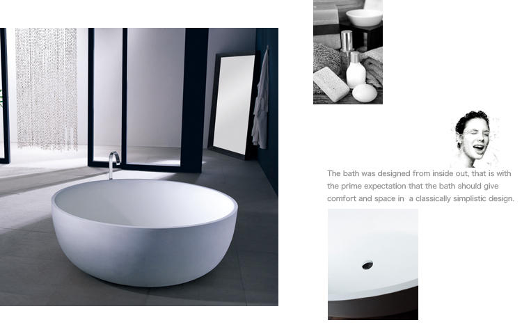 Bellissimo-Big Round 1500mm Resin Solid Surface Bathtub Bs-8615 | Solid Surface Bathtub-2