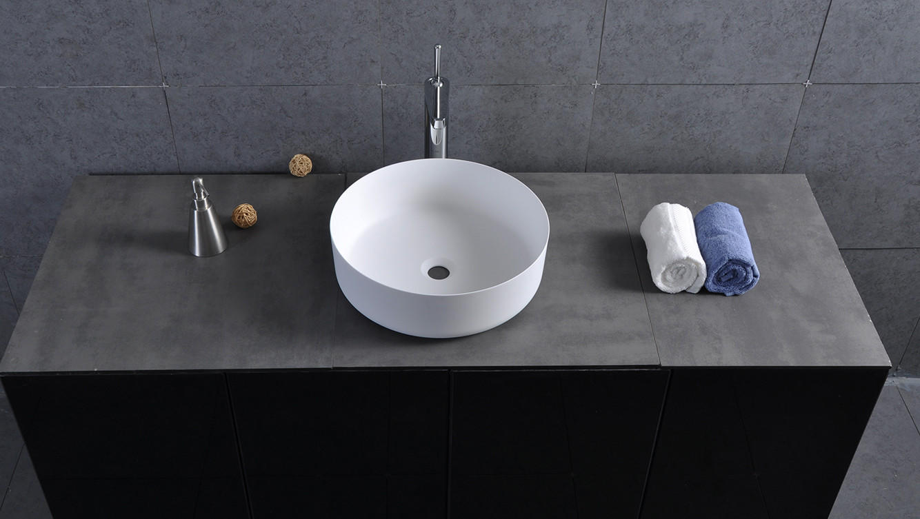 Bellissimo-Colorful Counter Round Wash Basin Bathroom Sink Bs-8347 | Stone Resin Bathroom