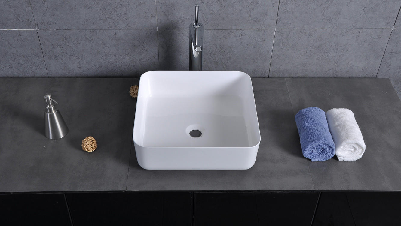 Bellissimo-Find Sligh Edge Square Corner Wash Basin Bathroom Solid Surface Sink Bs-8348-1