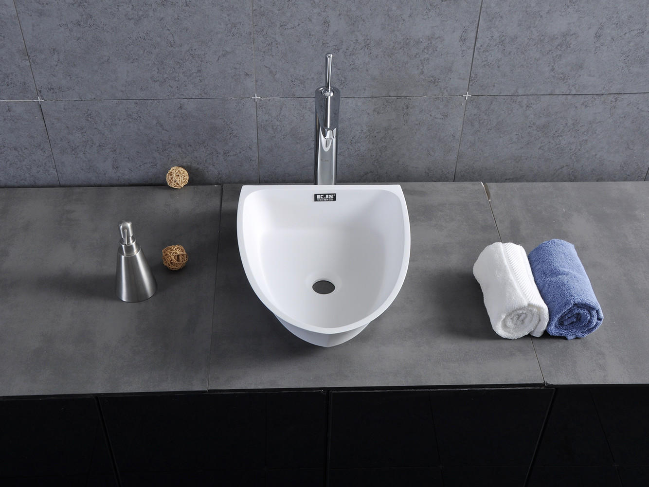 Bellissimo-Boat Shape Design Resin Solid Surface Wash Basin Bathroom Sink Bs-8345