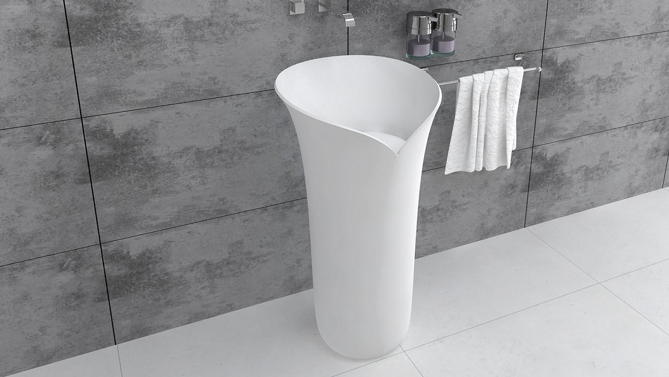 Bellissimo-Modern Round Design Freestanding Sink Bathroom Pedestal Wash Basin Bs8514