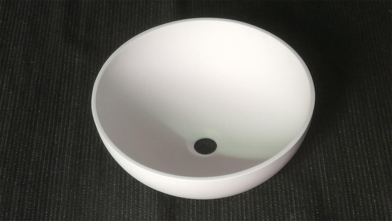 Bellissimo-White Round Bathroom Countertop Wash Basin Solid Surface Sink Bs-8301t