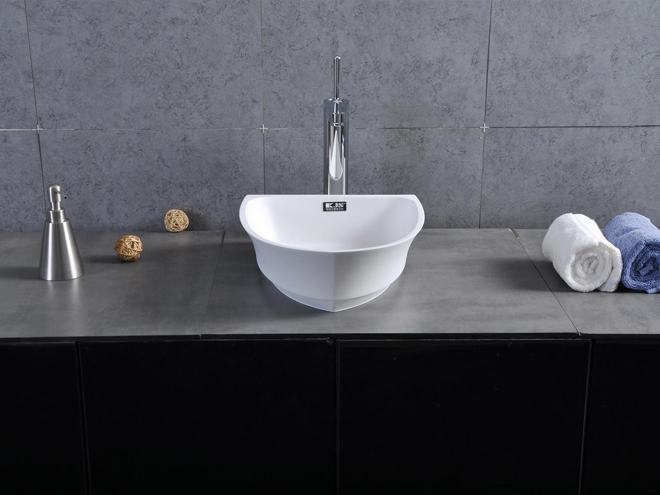 Bellissimo-Boat Shape Design Resin Solid Surface Wash Basin Bathroom Sink Bs-8345-1