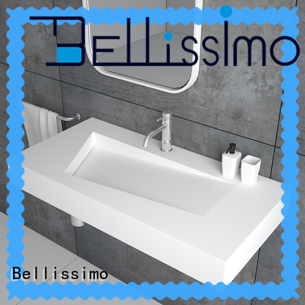 Bellissimo double sink design small wall mount sink with towel shelf for villa