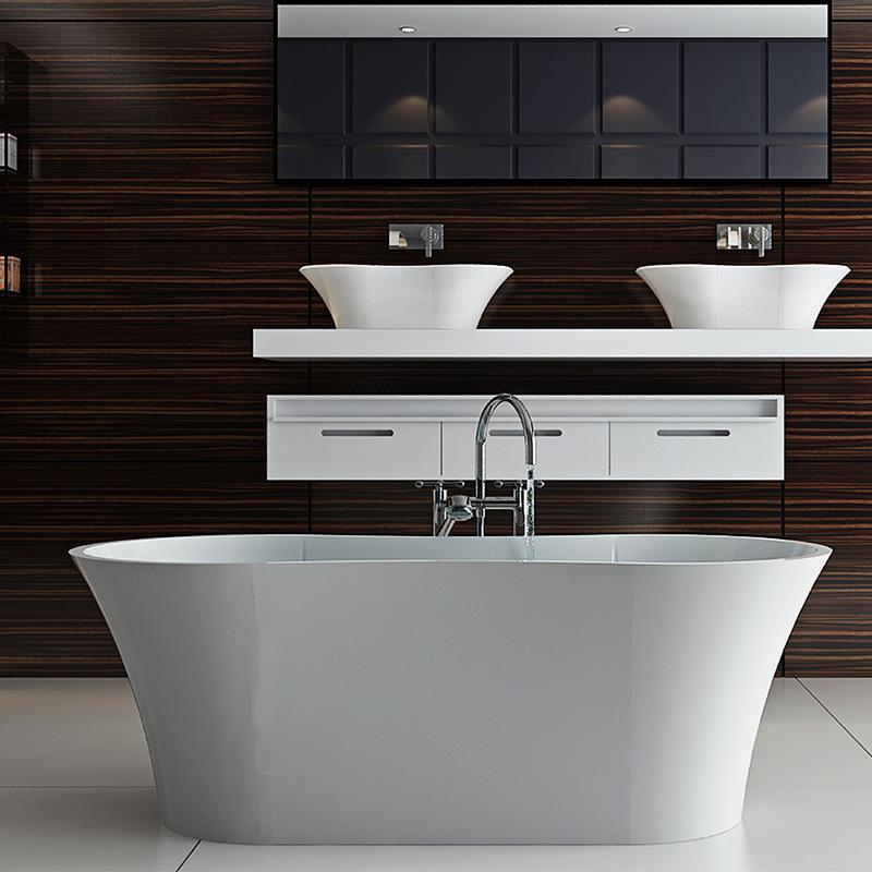 Composite stone unique arc standalone freestanding solid surface bathroom bathtub BS-8601