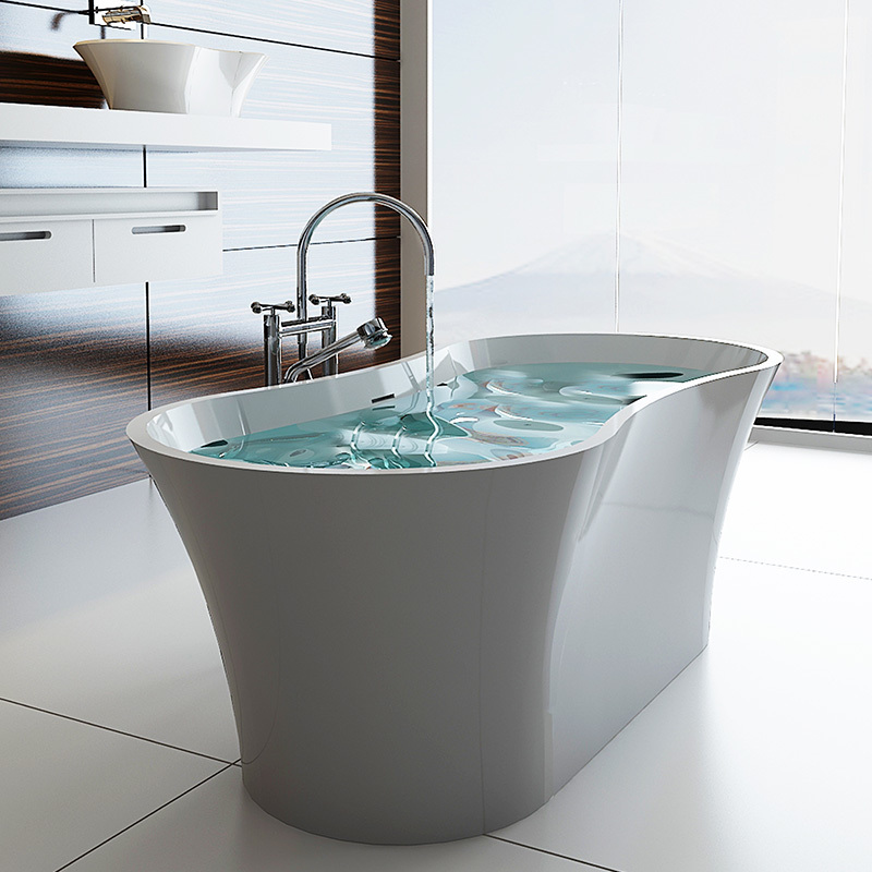 Composite stone unique arc standalone freestanding solid surface bathroom bathtub BS-8601