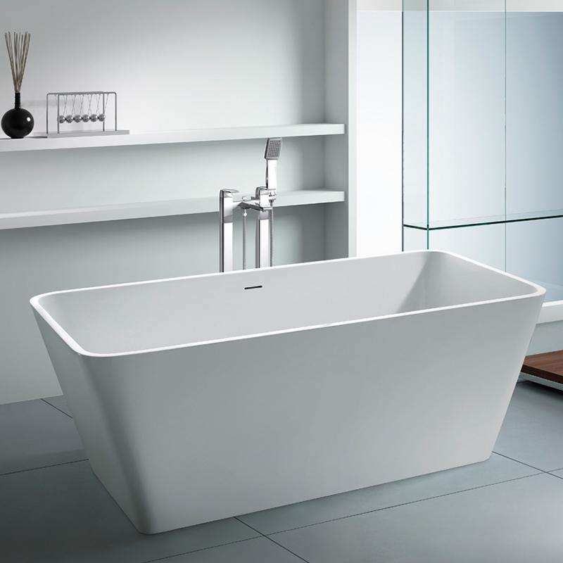 Rectangular freestanding resin stone cast solid surface bathroom bathtub BS-8603