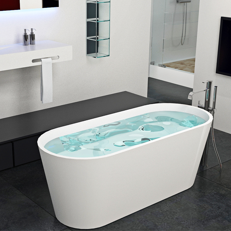 Artificial stone oval freestanding solid surface bathroom soaking bathtub BS-8604