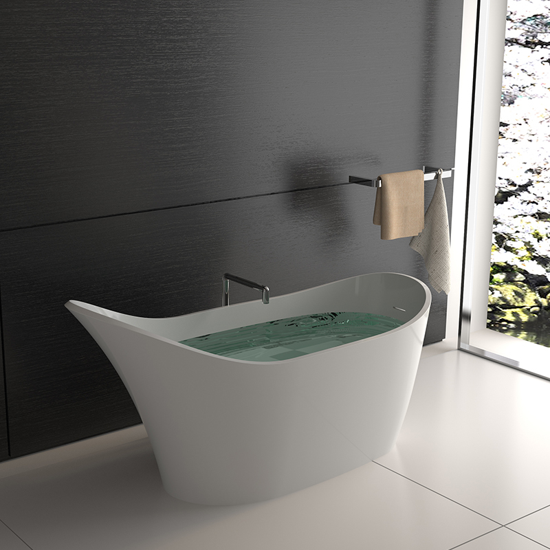 Shoe Shaped stone resin standalone solid surface bathroom freestanding bathtub BS-8605