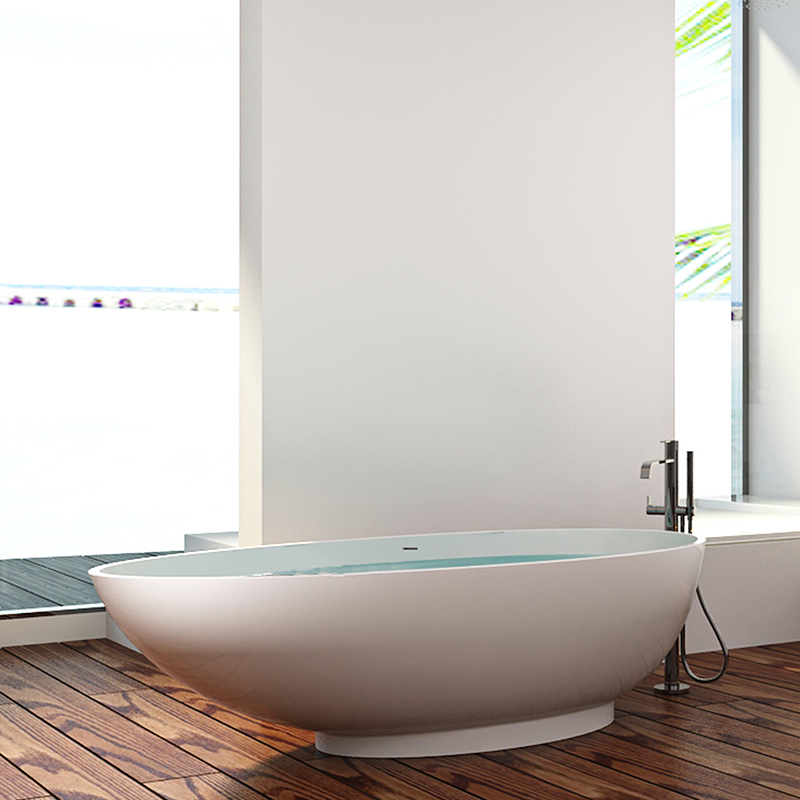 Boat Shaped 71 inch stone resin bathroom freestanding solid surface bathtub BS-8606