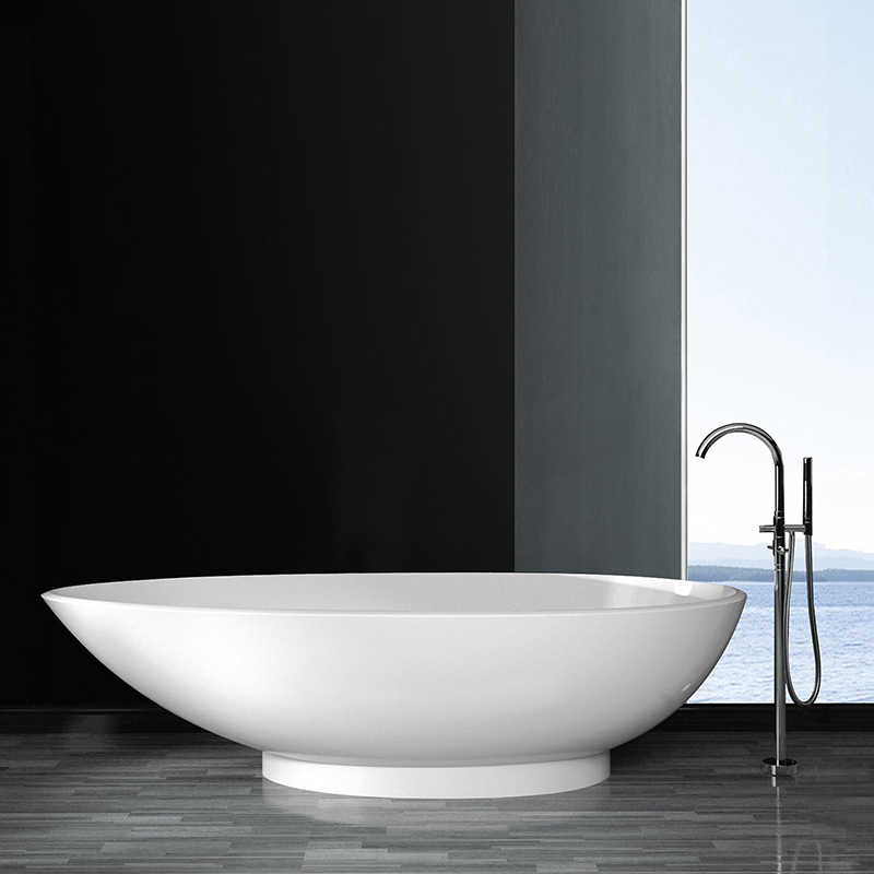 Bellissimo-Boat Shaped Stone Resin Freestanding solid surface bathtub-2